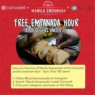 Empanada Hour at Bloggers United! (4-5PM ONLY)