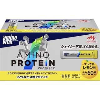 🚚 日本 Amino Vital 胺基酸蛋白質 60包 檸檬風味 配合必需胺基酸和乳清蛋白的蛋白質