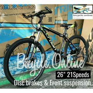 "CROLAN 26"" MTB / Mountain Bikes *CL500Gn ✩ 21 Speeds, front suspension, Disc brakes ✩ Brand New Bicycles"