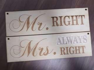 婚後物資新郎新娘pre wedding拍攝道具椅背裝飾牌Mr Right Mrs right