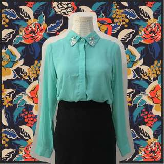Plains and Prints Mint Chiffon Longsleeves buttondown blouse