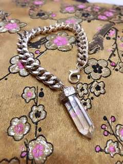 Bracelet with white quartz crystal pendulum