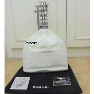 AUTHENTIC CHANEL SMALL LEATHER HOBO BAG - WHITE COLOR - EXCELLENT CONDITION - WITH CARD , DUSTBAG & BOOKLET