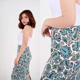 Paisley Pencil Skirt with Back slit