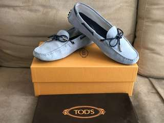 100% Real Tod's Light Blue Gommino Macassins Suede Loafers Driving Shoes 淺藍色豆豆鞋 - NOT CHANEL FENDI BALLY GUCCI GIVENCHY DIOR BV FERRAEGAMO RV