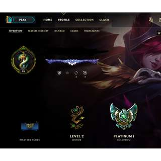 League of Legends Account (Diamond Border Obtained) Currently Plat 1 (Left 57 champs not unlocked)