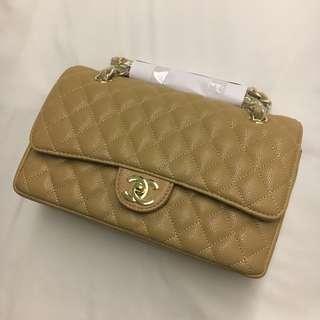 Chanel Beige Double Flap Bag Gold Hardware Class 7A Premium Copy