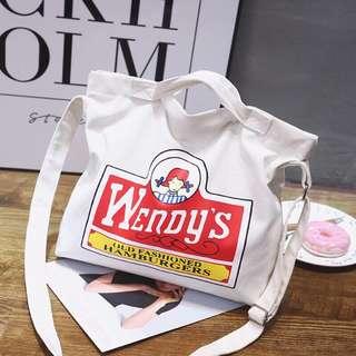 [全新] Wendy's 帆布袋 布袋 多用途袋 手提袋 側孭袋 兩用袋 tote bag