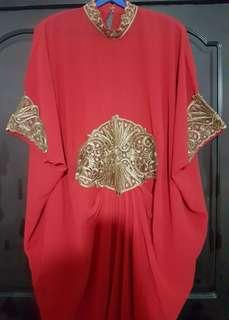 #HariRaya Plus Size Gold Lace Red Kaftan (New)
