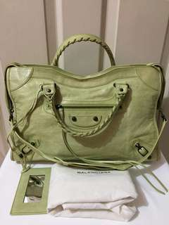 Authentic Balenciaga Classic City In Green Pistachio Color Two Way Hand Bag