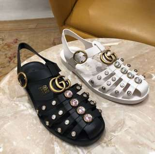 Gucci Rubber Sandal w/ Crystals