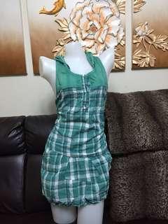 green cheekered hood dress