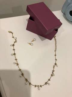 Pearl neck less and earrings