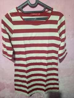 Kaos garis2 cream merah connextion