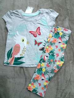 New baby set t-shirt and legging set 6-9months