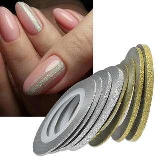 🚚 Glitter Stripping Tape Nail Art