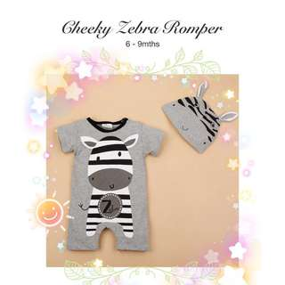 👶🏻 BNIB 6-9M CHEEKY ZEBRA ROMPER JUMPSUIT WITH HAT BABY CLOTHING KIDS CASUAL