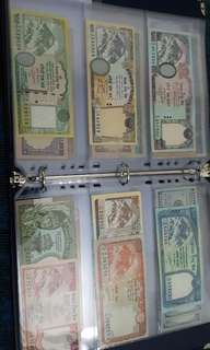Nepali rupee lots 2,5,10,20,50,100,500,1000 all unc