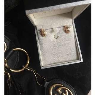 18K 3Tone Real Gold Earrings