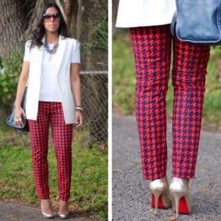 Gap Houndstooth Orange and Navy Cropped Pants