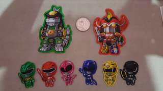 Power Rangers with Megazord and Dragonzord Stickers