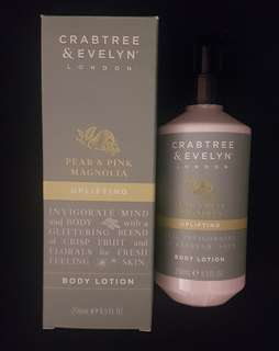 Brand new in box Crabtree & Evelynn pear & pink magnolia uplifting body lotion full size 250ml