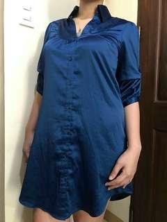 H&M silk dark blue dress, fits to small to medium