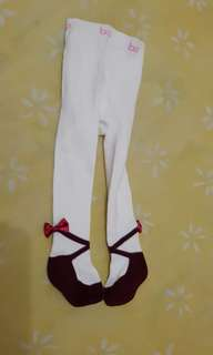 Legging Tutup Kaki / Stocking (Broken White Pita maroon)