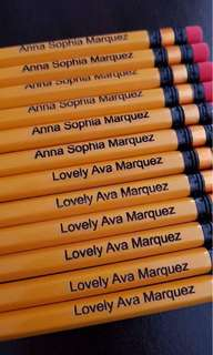 Personalized Engraved Mongol Pencils, Colored Pencils and Acrylic Bagtags