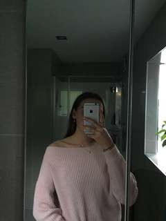 PINK OFF THE SHOULDER KNIT SWEATER