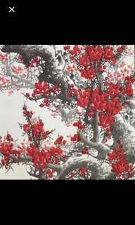 "{Collectibles Item - Chinese Ink Painting} 當代中國國画家 Modern Chinese Ink Painting On Paper On Scroll -【紅梅邊景圖】 軸画長5尺6寸(168cm) 寛2尺4寸(68cm) - 王齊(Wang Qi), 生于1949年。河北玉田人,中國國画家,國家一級美术师。自幼愛好书画艺术,青年参軍,因书画宣传工作突出获得军队三次奖励。在被家乡人民称为""可敬的农民画家""。"