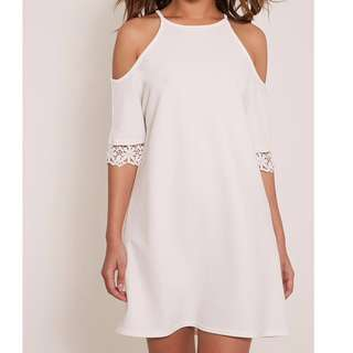 Pretty Little Thing White Cold Shoulder Dress