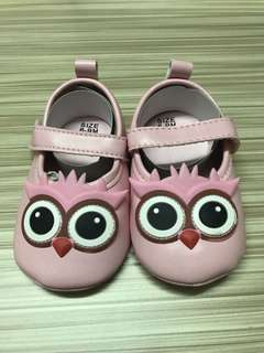 Baby Shoes / Girl Owl Flats / 6 - 9 months