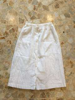 White Pleated Midi Skirt with Buttons