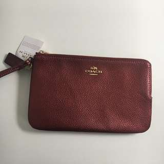Coach Double Zip Wallet in Metallic Cherry