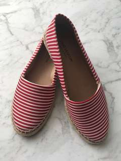 Gino Ventori Red & White Flats
