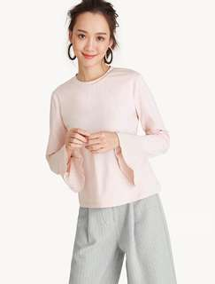 REPRICED! Flared Sleeves Round Neck Top - Pink