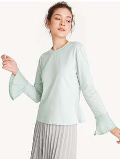 REPRICED! Flared Sleeves Round Neck Top - Green