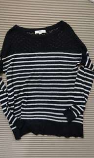 🚚 L) Loft 條紋蕾絲拼接薄毛線百搭上衣