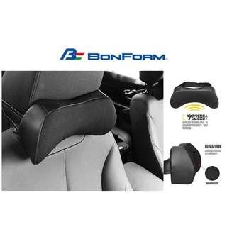 🚚 權世界@汽車用品 日本 BONFORM 車用高彈棉 皮革+透氣網布 頸靠墊 頭枕 黑色 B5334-15