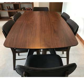 Designer Walnut Wood Dining Table + 6 Chairs
