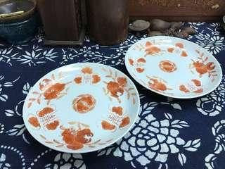 清晚民初礬红三多盤#3370,16.5*2.6cm左右,品相基本完整,對出價