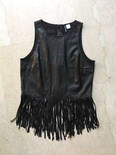H&M Faux Leather Black Top with Dancing Fringe