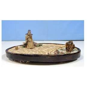 Vintage Lingnan ceramic bonsai mudman diorame penjing tray rare OOAK circa 1950s
