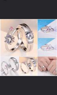 Pink Diamond Accent Couple Rings
