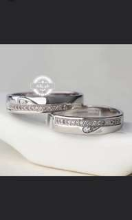 White Gold Accent Couple Rings