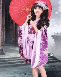 Lolita Cosplay Purple Sakura Yukata/Kimono