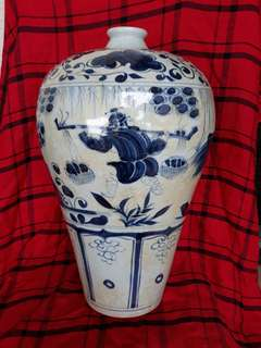 Early Ming era B n W plum vase with human characters 38cm high at offer price. 大明青花梅并。