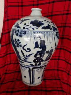 Early Ming era B n W plum shape vase with human characters. 38cm high. 明初青花人物彩梅并。特价500。可以尚商议