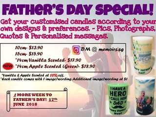 Father's Day customised candles